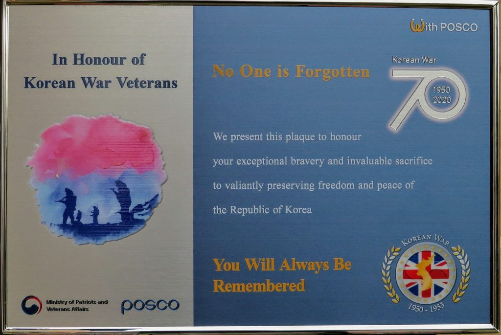 Huddersfield Veterans Korean War Plaque